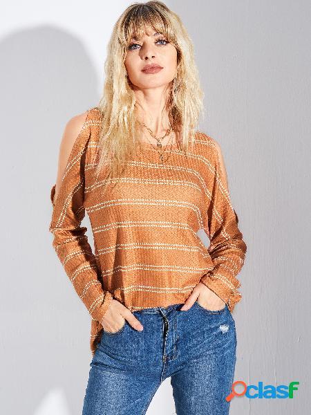 Yoins camiseta de manga comprida listrada laranja ombro frio