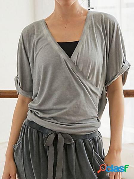 Yoins camiseta de manga curta cinza cruzada com decote em v