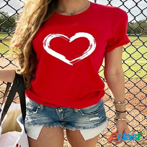 Casual coração camiseta de manga curta estampada com gola redonda