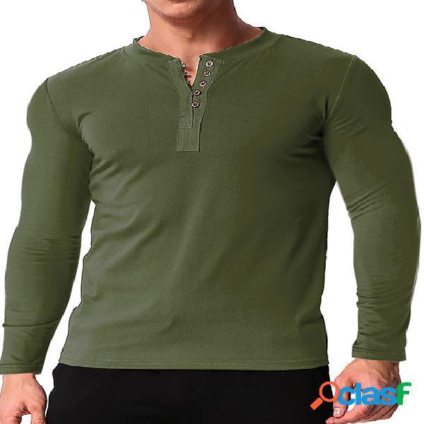 Incerun camiseta masculina aberta em torno do pescoço, manga comprida, algodão, vários botões
