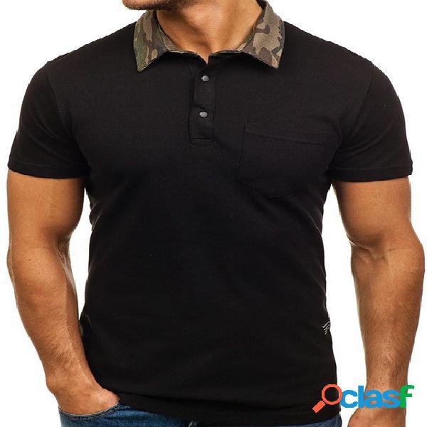 Top masculino sólido diário para casa camuflagem lapela casual manga curta top slim fit