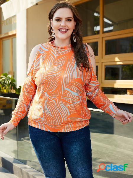 Yoins plus camiseta de manga comprida estampada em laranja com ombro frio