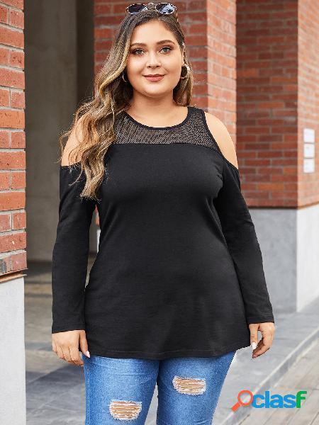 Yoins plus tamanho preto malha manga comprida ombro camiseta