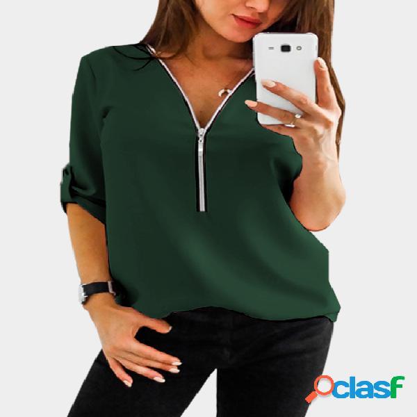 Blusa verde zip design gola v manga ajustável comprimento