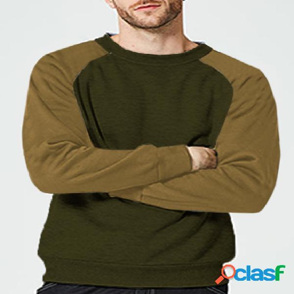 Moletom masculino outono streetwear moda casual quente patchwork raglan