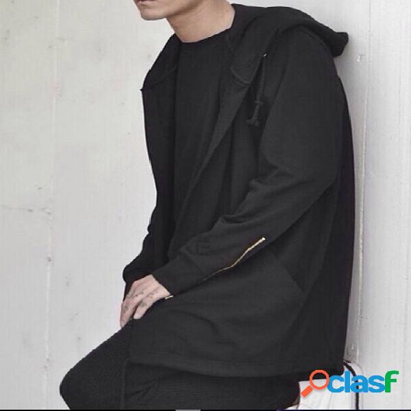 Manto de manga comprida masculino outono estilo de rua com capuz
