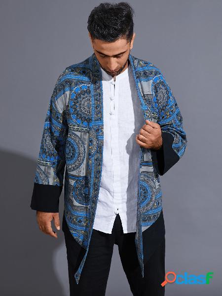 Casaco masculino casual estilo étnico com estampa completa cardigan tribal