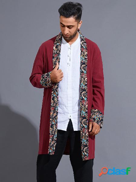 Casaco masculino casual outono estilo étnico simples tribal patchwork