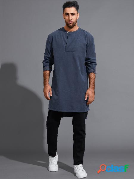 Masculino casual botão frontal liso midi comprimento camiseta de manga comprida