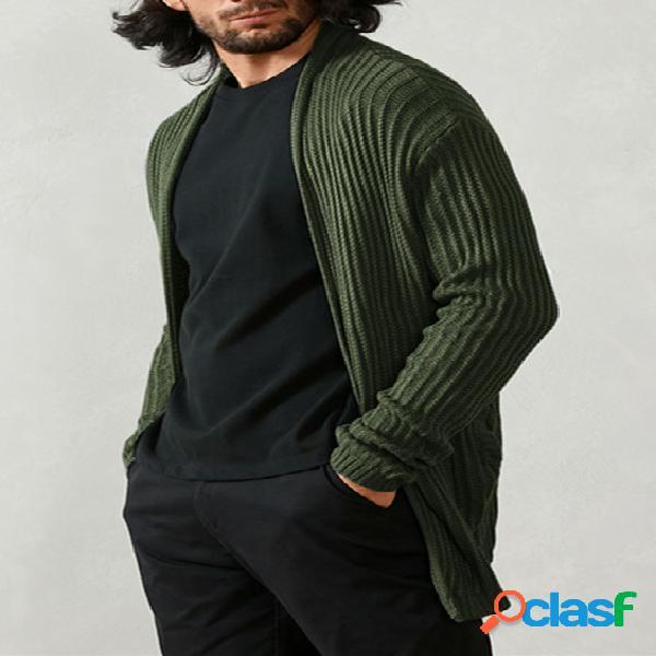 Suéter masculino outono streetwear fino manga comprida cardigã