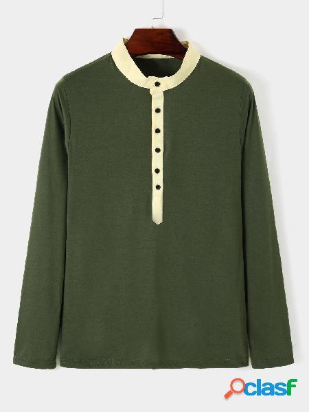 T-shirt casual masculina de outono com colarinho simples botão frontal