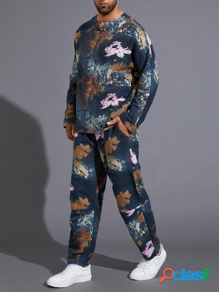 Terno masculino casual estilo étnico com decote em v todo estampado