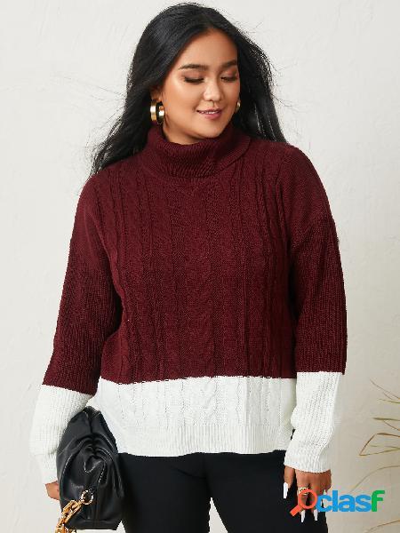 Yoins plus suéter de manga comprida tamanho gola alta cor bloco