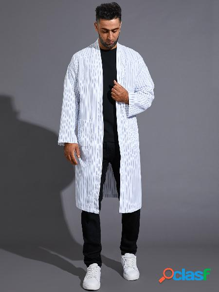 Casaco casual masculino listrado de manga comprida cardigã de personalidade da moda