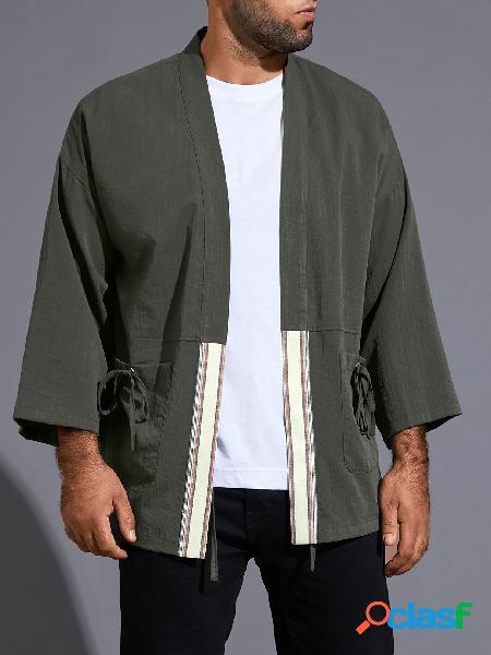 Casaco masculino casual liso retrô com nó duplo bolso