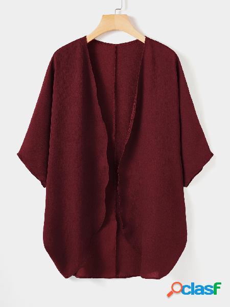 Chiffon pure color half sleeves cardigan
