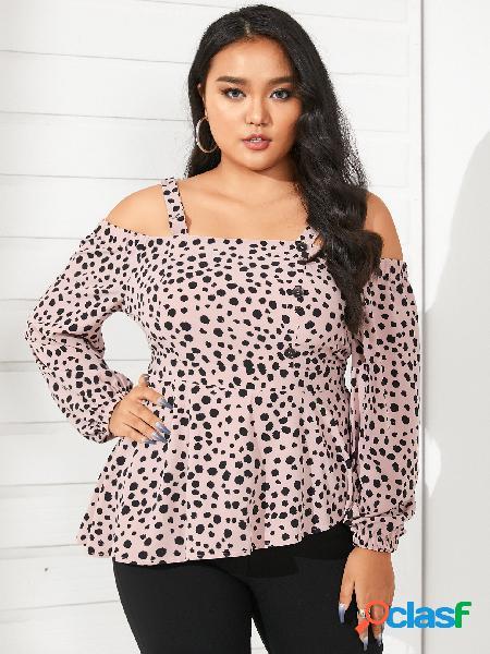 Yoins plus blusa de manga comprida tamanho cold shoulder polka dot sem encosto design