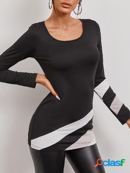 Yoins camiseta preta patchwork de mangas compridas em volta do pescoço