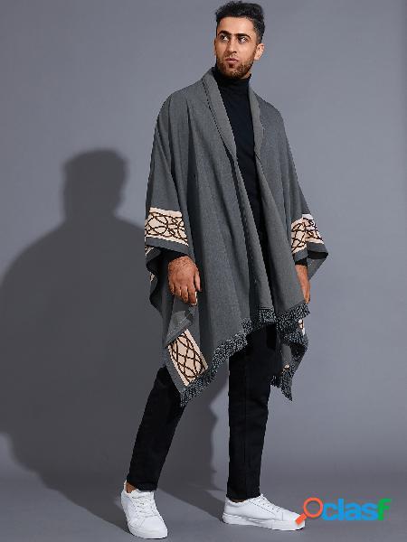 Casaco masculino casual estilo retro tribal com borla com nó para o halloween