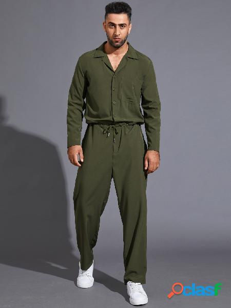 Macacão masculino retrô de manga comprida com cordão