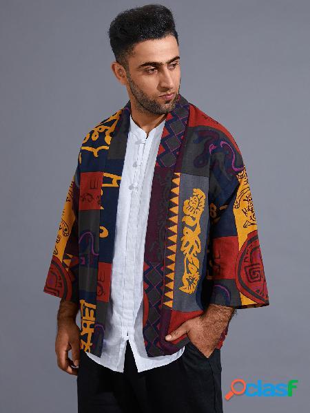 Casaco masculino casual estilo étnico com estampa completa em bloco de cor tribal