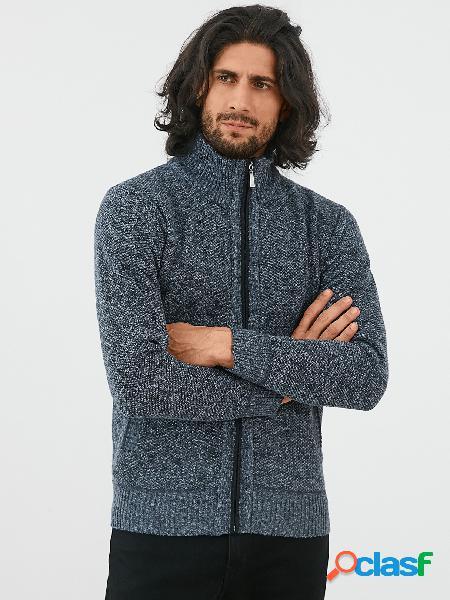 Casaco masculino de manga comprida de inverno com gola grossa e quente com zíper