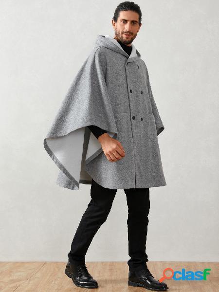 Casaco masculino de lã de inverno solto com mangas de morcego com capuz e capuz