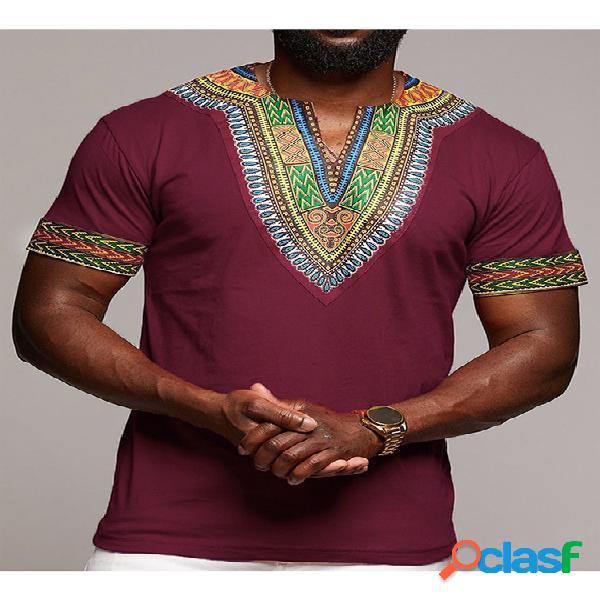Camiseta masculina com estampa tribal dashiki estilo decote em v