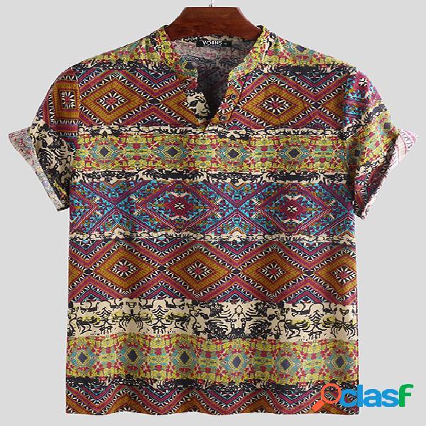 Camiseta masculina de manga curta casual estilo étnico com decote em v tribal