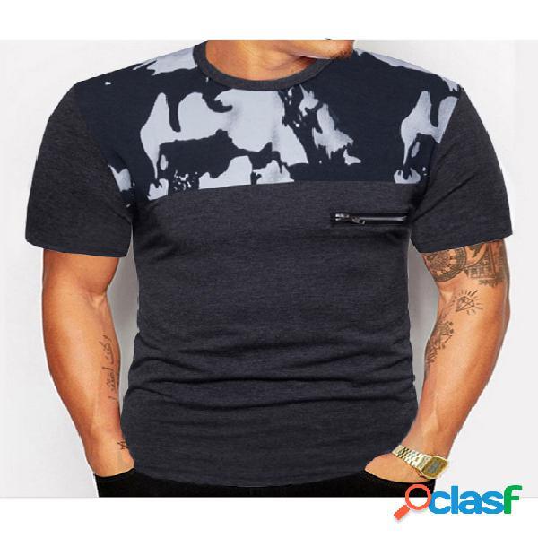 Camiseta masculina verão algodão camuflado colorido bloco patchwork