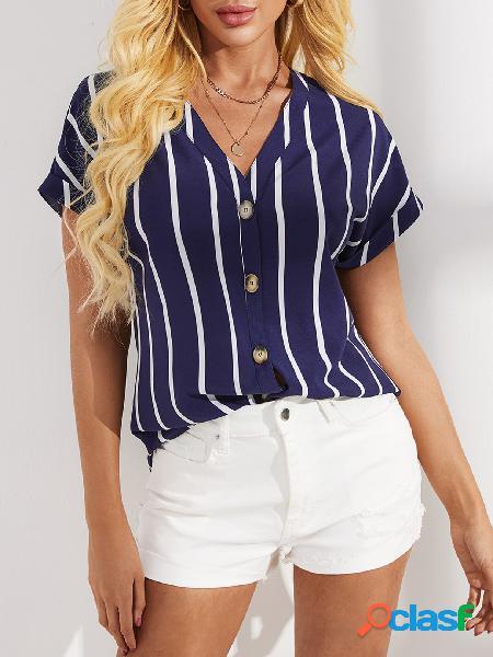 Yoins blusa de manga curta listrada com decote em v