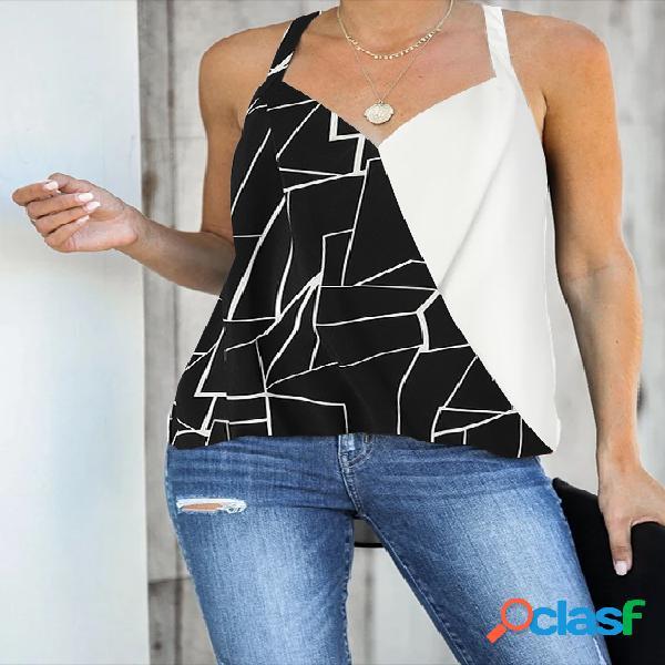 Yoins black patchwork wrap design halter camisas sem mangas