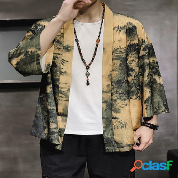 Casaco masculino estilo retro japonês casual solto com capa de quimono yukata yukata