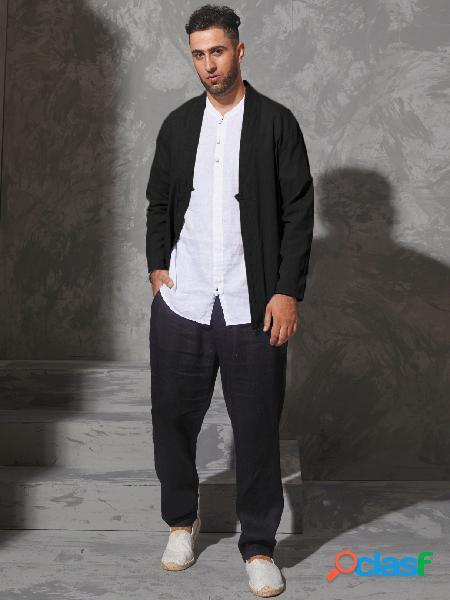 Casaco masculino casual liso preto cardigan com botão na frente