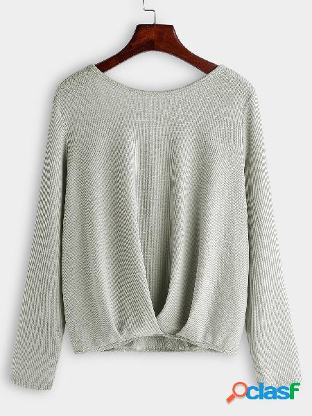 Cinza sem encosto design camiseta de mangas compridas com decote redondo cruzado
