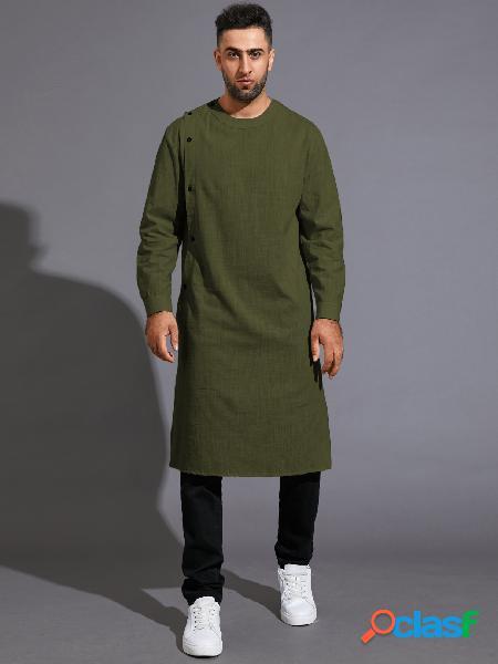 Homem casual solto médio longo estilo nacional manga longa botão camisa