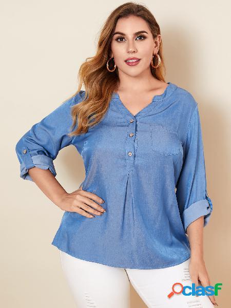 Yoins plus bolso com decote em v tamanho design blusa de manga comprida