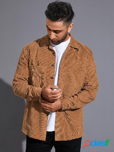 Casaco liso masculino casual outono inverno manga comprida camisa