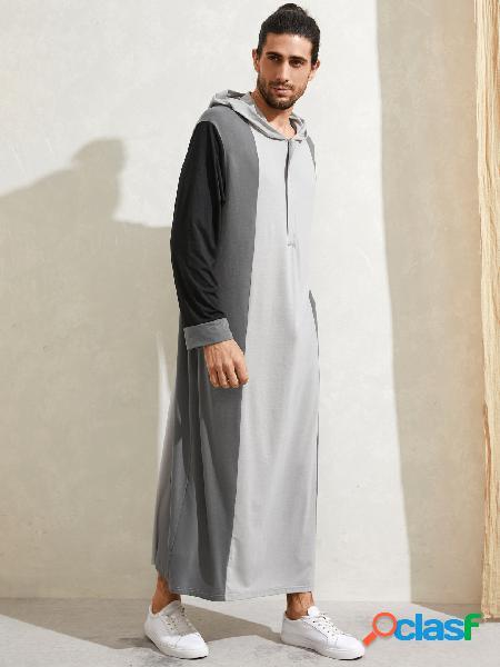 Manto étnico masculino solto manga comprida vintage casual cor bloco com capuz costurado
