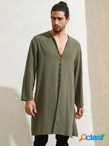Masculino casual com decote em v botão liso médio comprimento camisa