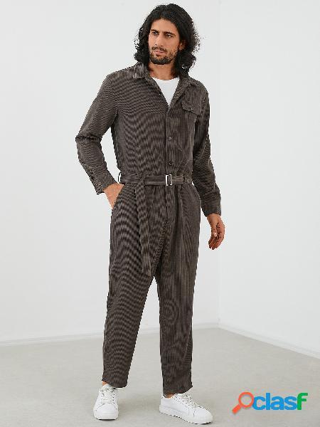 Macacão moda masculina de veludo com botão frontal manga comprida