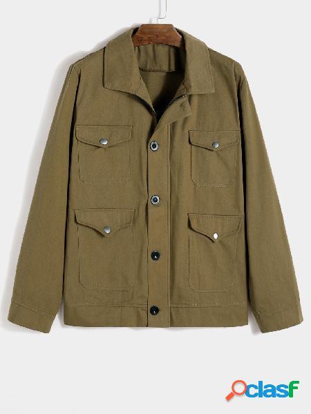Yoins basics masculino outono uniforme multi-pocket lapela jaqueta cor sólida