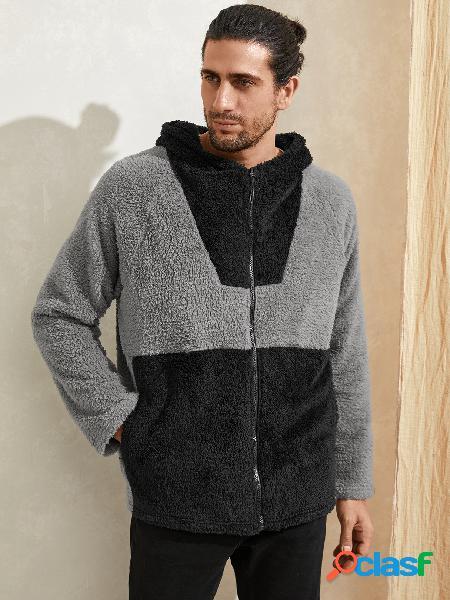 Casaco masculino casual de inverno quente em lã com capuz e zíper frontal
