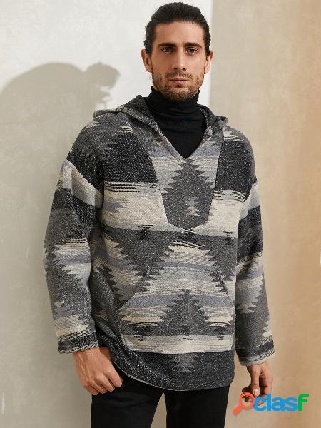 Moda masculina de lã com estampa tribal canguru com capuz de manga comprida