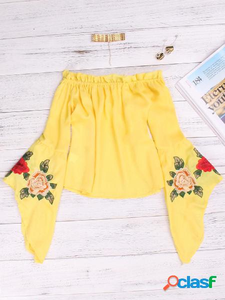 Blusas de manga comprida bordadas amarelas