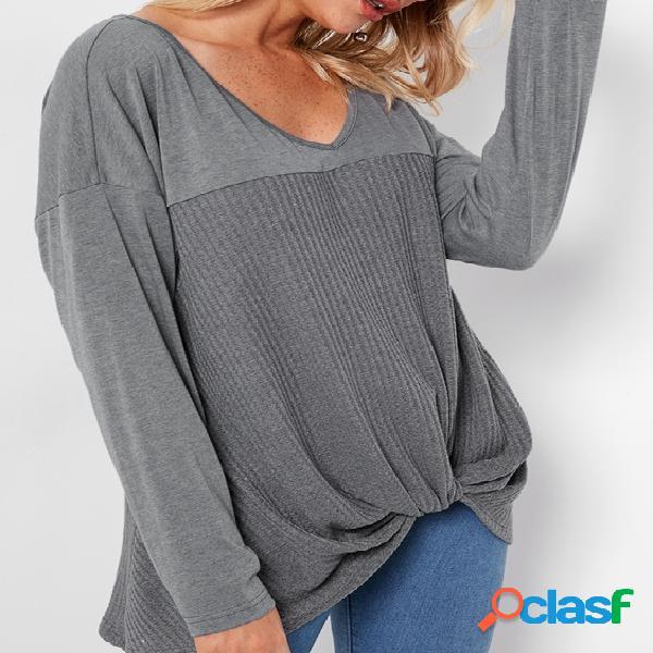 Cinza knotted front design t-shirts de mangas compridas com decote em v