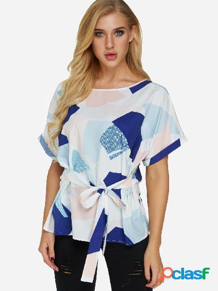 Blusa de manga curta design random geométrica padrão gola redonda