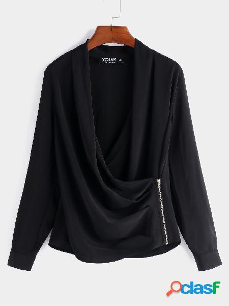 Blusas de manga comprida fashion com zíper preto design