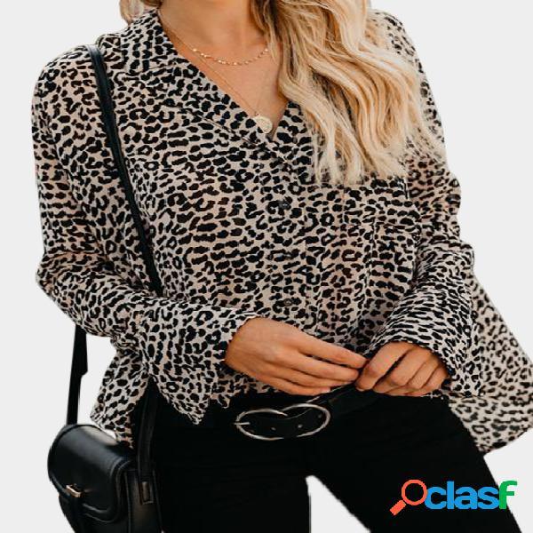 Marrom leopardo com decote em v com peito único design blusas soltas com mangas em sino