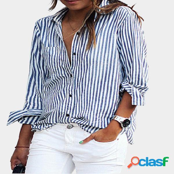 Azul casual listrado com botão para baixo camisa